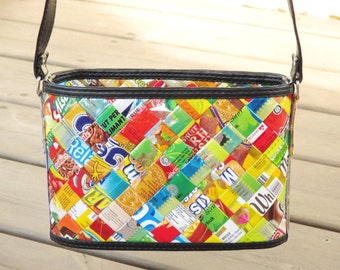 Crossbody bag candy wrappers, FREE SHIPPING, sustainable gift for women, vegan bag, upcycling by milo, naveh milo, green product