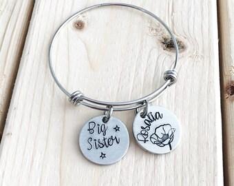 Big sister gift - Hand stamped bracelet - Charm bracelet for girls - New baby - Sister gift - Stamped bracelet - Gift for older sister