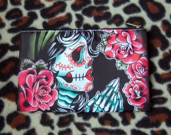 Cosmetic Bag Case | Dia De Los Muertos by Carissa Rose | Tattoo Lowbrow Punk Rock Goth Sugar Skull Praying Hands Flash Girl Pencil Pouch