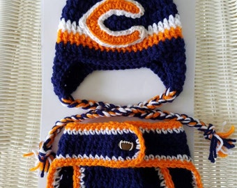 Chicago Bears crocheted hat and diaper cover