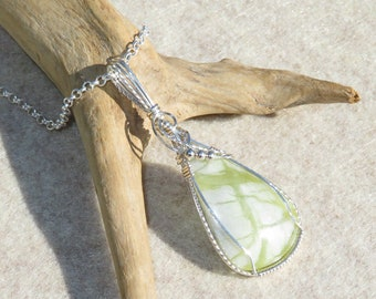 Bamboo Forest Jade Pendant Wire Wrapped Pendant .935 Argentium Sterling Silver