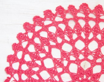 Coral hand dyed Crochet Doily Vintage lacy doily