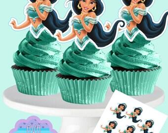 Princess Jasmine Cupcake Toppers, Princess Jasmin Cupcake Toppers, Cupcake Picks INSTANT DOWNLOAD