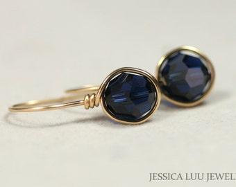 Gold Navy Blue Swarovski Crystal Earrings Wire Wrapped Jewelry Gold Earrings Dark Indigo Swarovski Crystal Jewelry Gold Jewelry