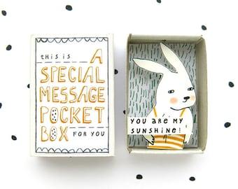 Bunny - een speciale Massage Pocket Box - u bent mijn zonneschijn! -bericht in een doos - waardering gift - zonneschijn in een doos