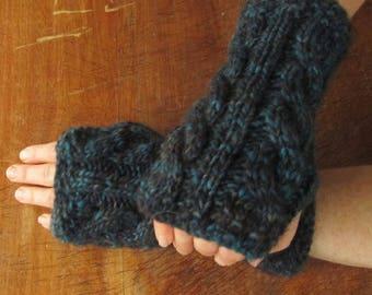 Cabled, blue wrist warmers, wool/alpaca/acrylic blend, Size L