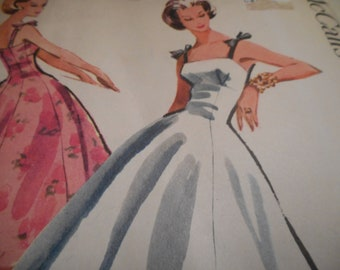 Vintage 1950's McCall's 3998 Dress Sewing Pattern Size 12 Bust 32