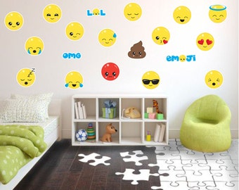 Emoji Wall Decals, Fabric Wall Decals, Kids Wall Decals, Playroom Wall  Decals,