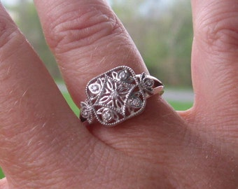 Size 6 Vintage Inspired Diamond Sterling Engagement Ring, Ready to Ship