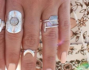 Silver Arrow Midi Ring, Boho Ring, Sterling Silver Stack Ring, Sterling Silver Ring for Women, Arrow Ring, Bohemian Rings, Initials Ring