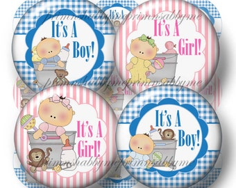It's A Boy, It's A Girl, Bottle Cap Images, Digital Collage Sheet, 1 Inch Circles, Instant Download. Printable, Pink, Blue, Baby, Crafts