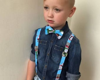 Thomas the Tank Engine Suspenders and/or Bow Tie, Adjustable Neck Strap, Clip On OR Nylon Band, Thomas The Train, Trains, Train Track, Baby
