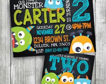 monster invitation, monster birthday invitation, monster party invitation, monster birthday, chalkboard invitation, personalized, printable
