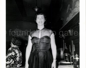 Vintage Photo, Elegant Woman, Restaurant, Celebration, Black & White Photo, Peek A Boo Dress, Found Photo, Vernacular Photo√