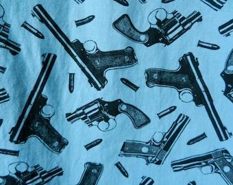 Amazing Vintage 80's Betsey Johnson Gun Print Light Blue Long Skirt Punk Original RARE