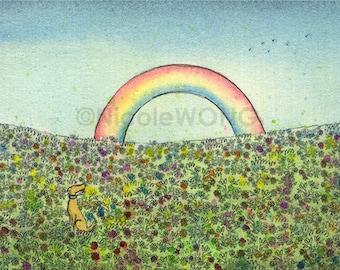 Original ACEO Drawing and Painting -- Rainbow Bridge