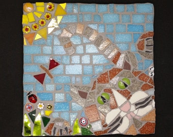 cat chasing butterfly mosaic tile