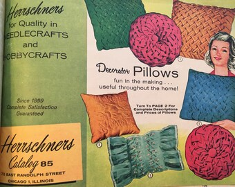 Vintage Craft Supply Catalog Catalogue 1960s Herrschners Chicago. No. 85. Kits. Needlecraft. Pillows, Aprons, Hats, Paint by Numbers.