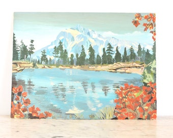 Vintage Paint by Number Mountain Lake Scene
