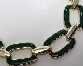 "Vintage Necklace Green Enamel Rectangle Links Gold Tone Metal 18""  FREE SHIPPING j71"