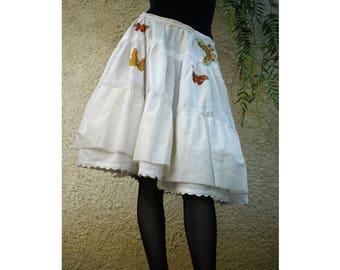 Rock/Petticoat mit Schmetterlingen/Vintage/Leinen Stoff/Größe M/Gr. M /