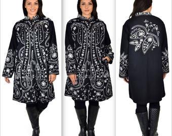 Hand embroidered wool coat, Women Wool Coat, Winter wool coat. Plus size coat Jacket coat size M/L, XL/1XL AND 2XL/3XL