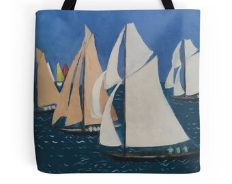 Beautiful Tote Bag Featuring A Design Based On The Painting 'Les Yacht Classiques II'