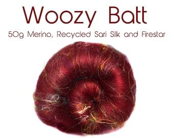 Spinning Batt - Red - Multi coloured - Merino - Recycled Sari Silk - Firestar - 50g / 1.75 oz - THE WOOZY BATT