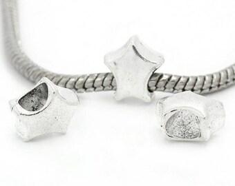 10 Euro Style Silver Tone Star Charm Beads (B461e)