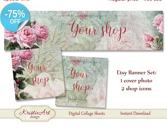 75% OFF SALE ETSY Shop Banner (Cover photo) + Shop Icons - Set #L005. Digital Roses Etsy Shop Banner Digital Collage Sheet Flowers Banner