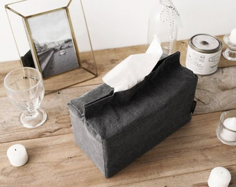 Softened Washed Linen Tissue Box Cover Rectangle Tissue Cover Kleenex Box Cover Gray Wedding Gift Shower Gift Office Decor Under 10 Gift