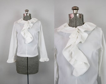 1960s White Ruffle Front Blouse / Size Small