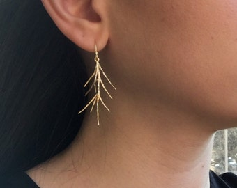 Branch Out Earrings - Matte Gold 3D Plated Branch Twig Earrings, Sea Coral Branch Earrings