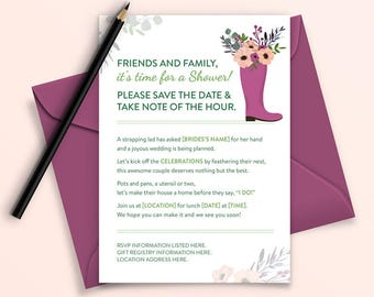 Rhyming Rain Boot Bridal Shower Digital/Printable Invitation