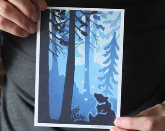 Bear Cub in the Forest; Fine Art Print