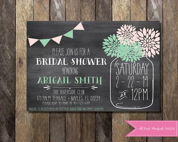 Bridal Shower Invitation Chalkboard Invitation Chalkboard