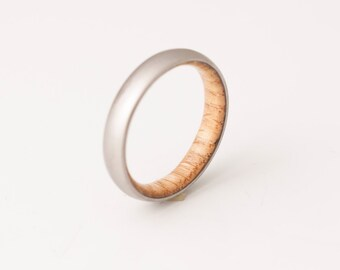 Titanium and white oak Rings Mens Wood Rings wood Wedding