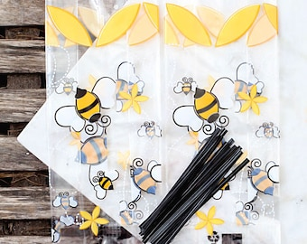Bumble Bee Cellophane Bags & Twist Ties, Bumble Bee Candy Bags, Clear Candy Bags, Bumble Bee Favor Bags, Candy Buffet Bags, Bee Sweet Bags