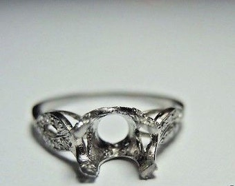Antique Diamond Platinum Engagement Ring Setting | Will Hold 7.5X5.5 | ES-167