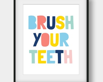60% OFF Brush Your Teeth, Bathroom Decor, Bathroom Print, Bathroom Rules, Brush Your Teeth Poster, Kids Bathroom Decor, Scandinavian Kids