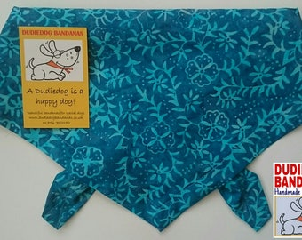 Blue Batik Floral Dog bandana, Tie on, Bohemian, Surf Style, 100% Cotton Handmade in the Yorkshire Dales by Dudiedog. Free UK P&P. 7 sizes!