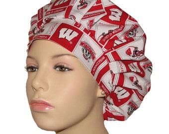 Bouffant Scrub Hat-University Of Wisconsin Badgers Fabric-Scrub Hats For Women-Scrub Caps-ScrubHeads-Badgers Scrub Hat-Wisconsin Scrub Hat