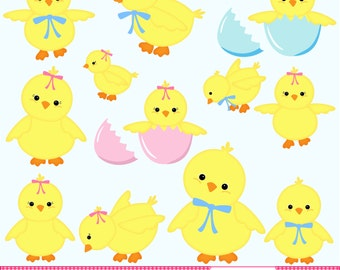 Easter Chicks Clip Art - Easter Clip Art - Yellow Chicks - Easter Digital Art - Chick Graphics - Easter Graphics - Instant Download