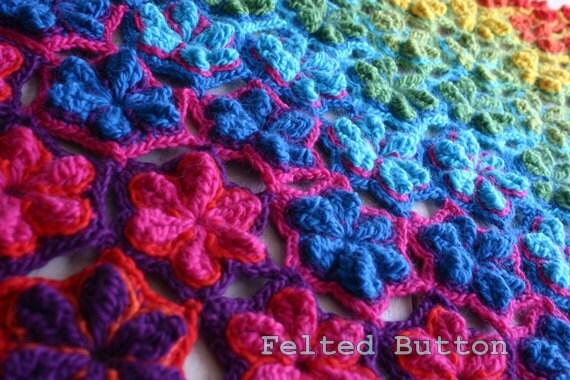 Crochet Pattern Star Fruit Blanket Rug Coverlet Afghan Runner
