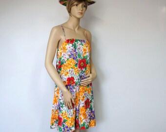 Short Vintage Set costume soie Ann Français Floral Tropical Short et Top Tropical Beach Aloha Culottes taille 8
