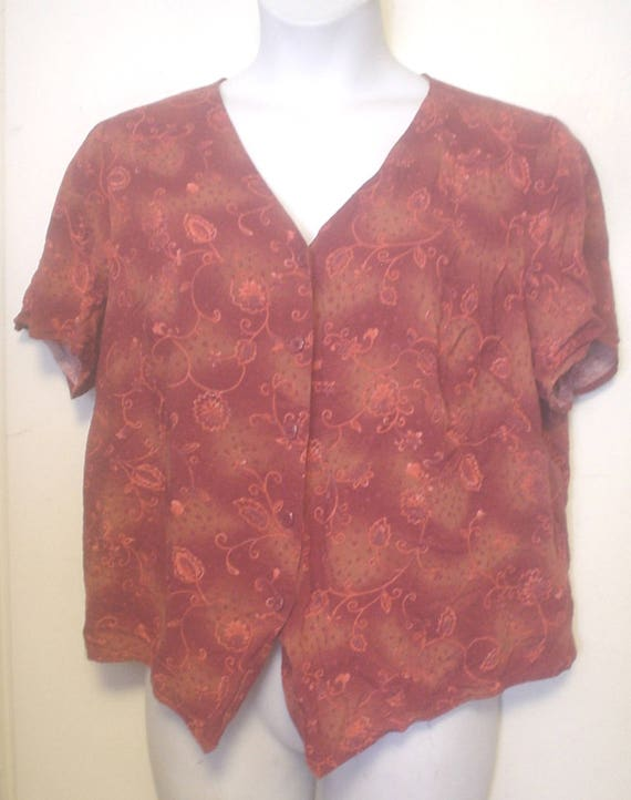 Vintage Short Sleeve Pink Button Down Shirt by Lee AduQoH75