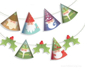 DIY Printable Woodland Santa Gnomes Banner PDF digital download Scrapbook Christmas Ornaments Party Decorations
