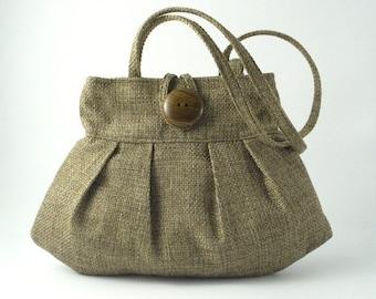 retro bag, shoulder purse, fabric handbag, pleated handbag purse, green shoulder bag, vegan purse, mothers day gift, gift for her