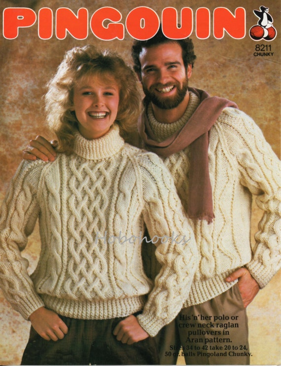Womens Mens Chunky Aran Sweater Knitting Pattern Pdf Ladies