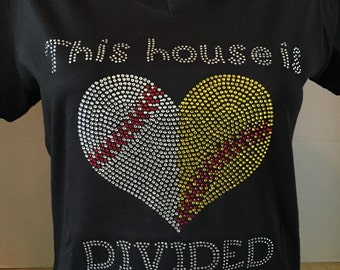 This House is Dividied - Softball and Baseball Rhinestone Shirt